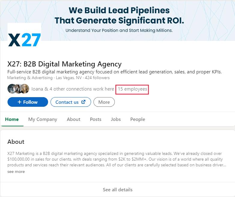 x27 linkedin company page