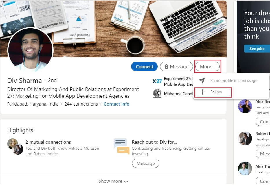 linkedin profile features example